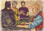 Ilustraciones que muestran el día a día de los superhéroes fuera de servicio