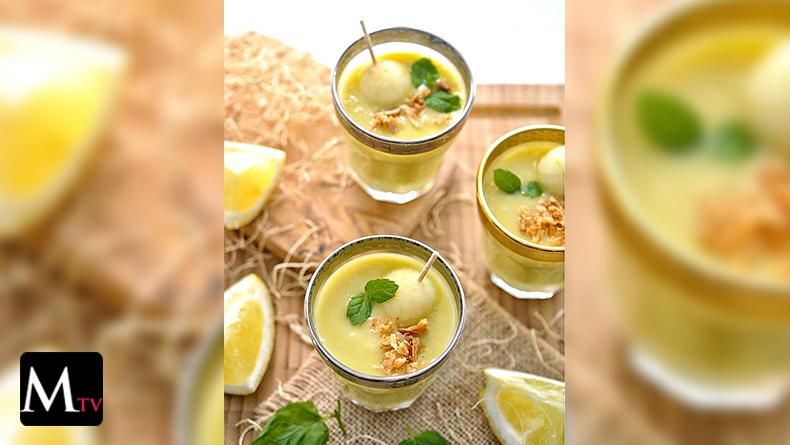 Sopa fría de puerro, manzana y limón